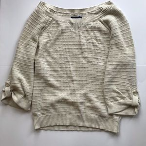 American eagle women's sweater 3/4 sleeves cream M